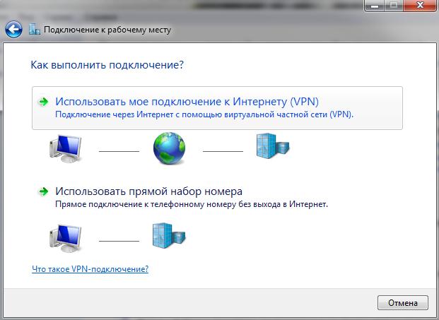 PPTP + G-Net + MS Windows 7: Выбираем тип создаваемого транзитного подключения.