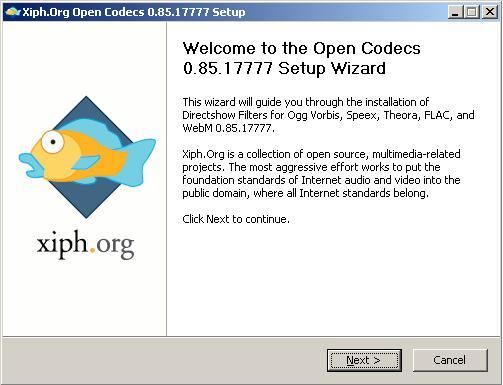 Directshow Filters for Ogg Vorbis installation: Запуск установщика.