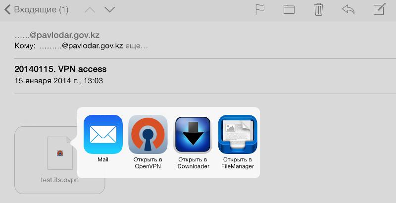 OpenVPN Connect iOS: Выбор приложения для применения OpenVPN-профиля.