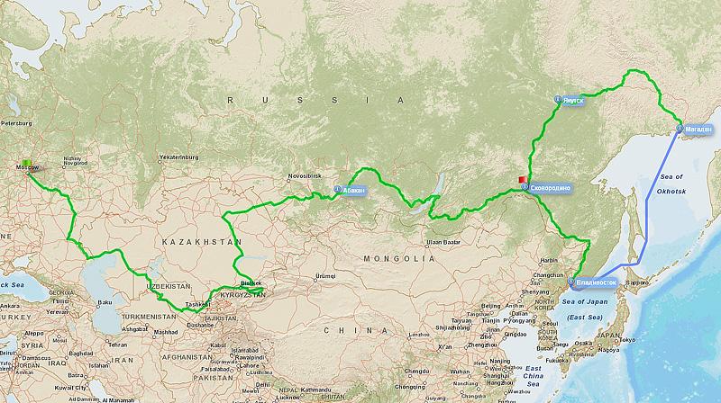 Обзорная карта с маршрутом велопутешествия Евгения Остапенко в 2011-2012 годах.