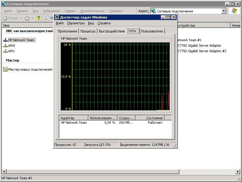 HP NIC Teaming. Microsoft Windows 2003: Общий вид агрегированного сетевого подключения.