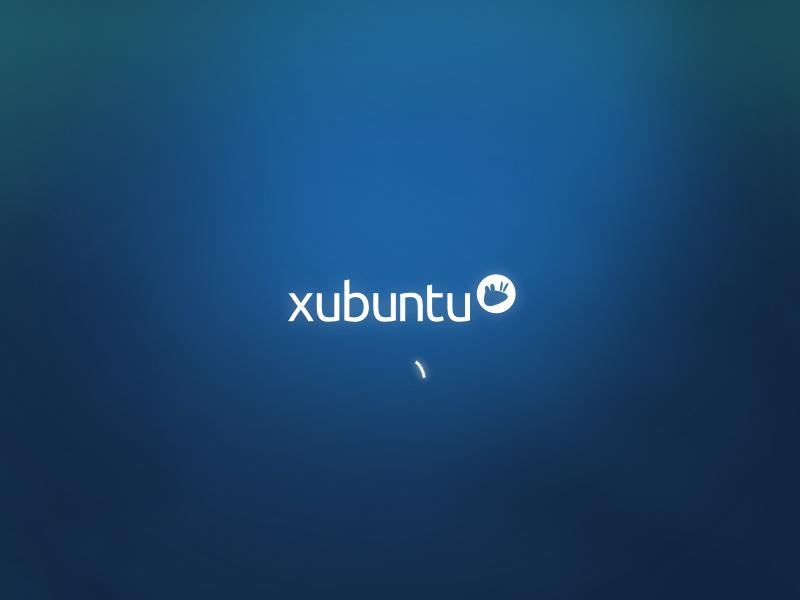 """Установка """"Xubuntu 13.04"""": первая загрузка - анимация скрывает системные сообщения об инициализации компонентов."""