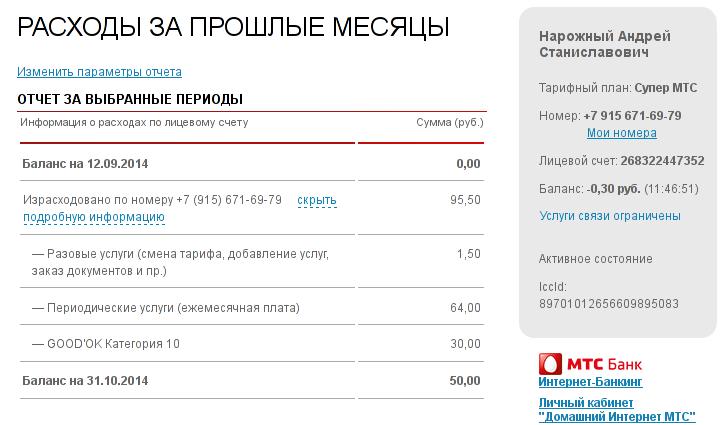 20141129. МТС. Снимок экрана с отчётом по расходам.