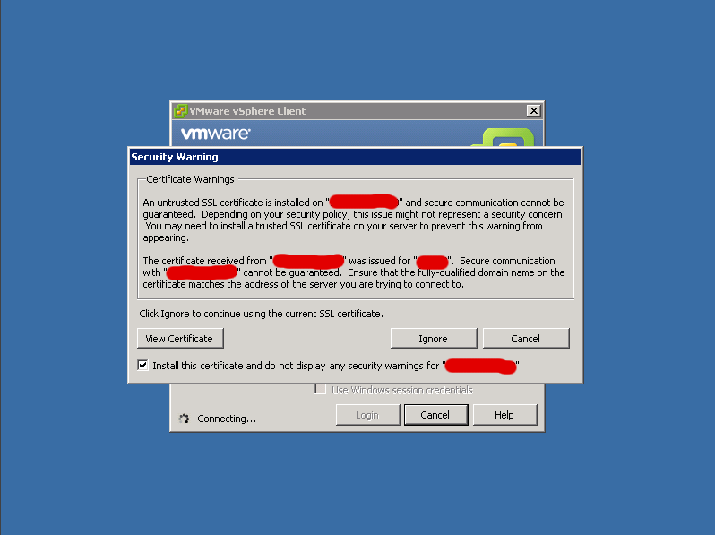 vSphere Client: соглашаемся с использованием само-подписанного SSL сертификата.