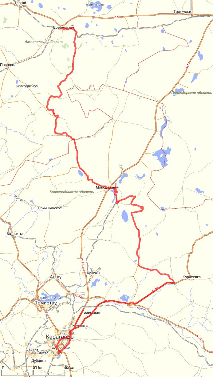 20120810. Нитка маршрута на топографической карте (maps.yandex.ru).