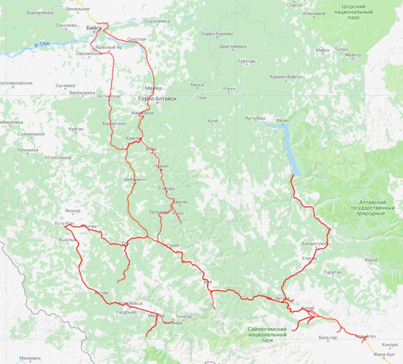 20180818. Нитка маршрута на топографической карте (maps.google.com).