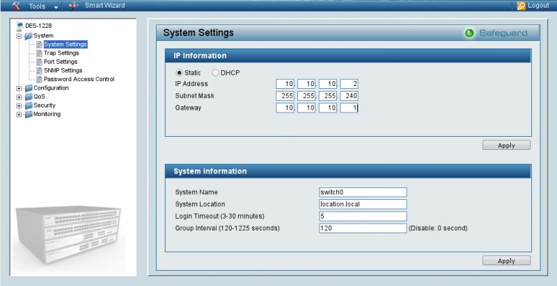 Параметры подключения TCP/IP для D-Link 1228.