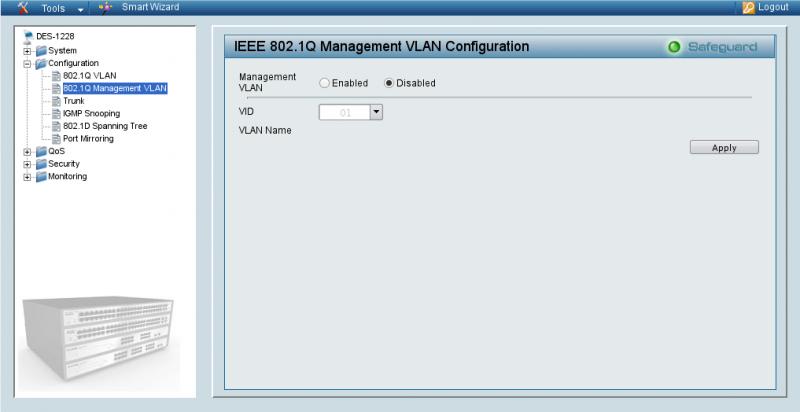 Определение Management VLAN для D-Link 1228.