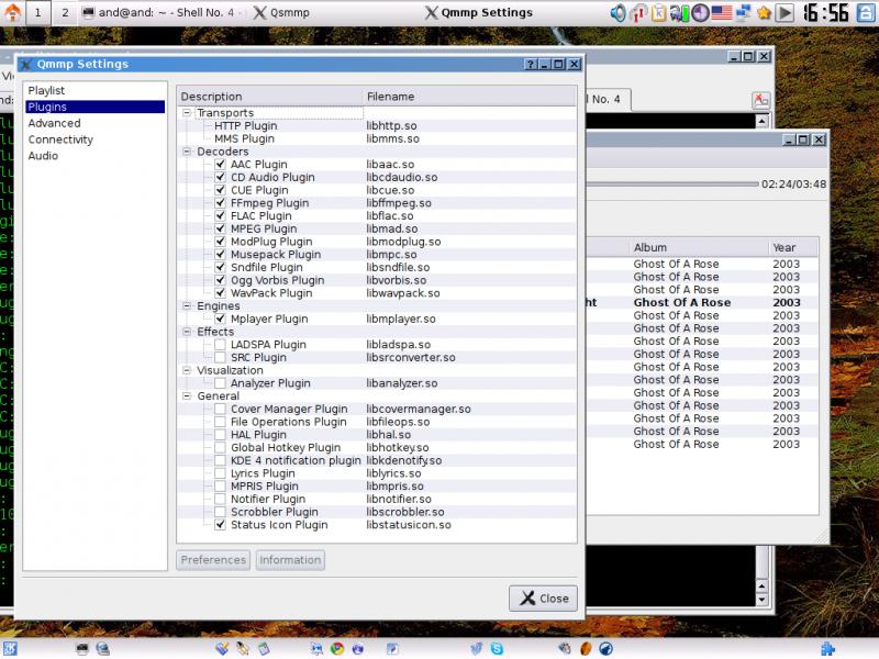 Qsmmp: вид списка доступных плагинов в панели настроек.