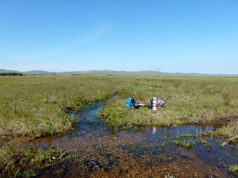 20160807. Безымянный ручей, один из множества стекающих со склонов гор Ерейментау и обычно пересыхающих уже к середине лета.