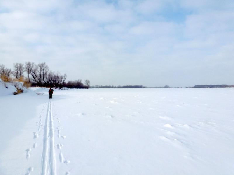 20170129. На лыжне по льду вдоль левого берега реки Иртыш.