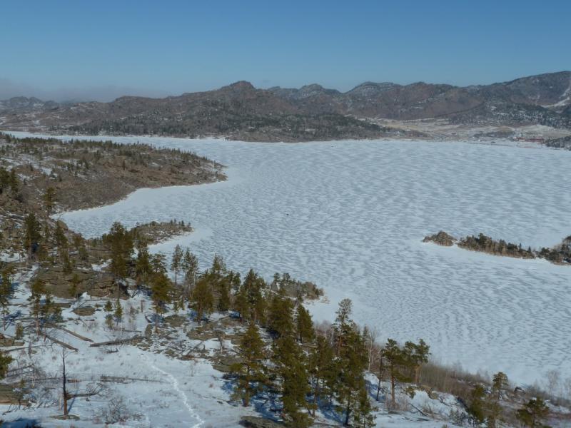 20110321: Вид на озеро Джасыбай с северного склона горы Киишкий.