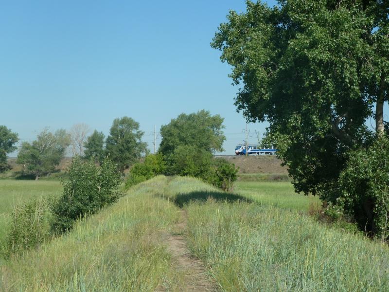 20110618. Дамбой выбираемся на железнодорожную насыпь.