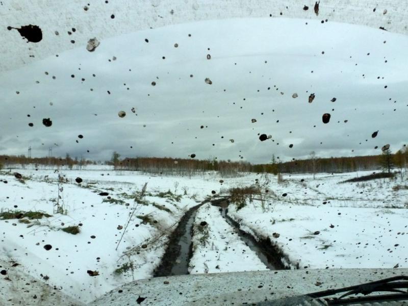 201700926. Раскисшая после первого снегопада полевая дорога в холмах между озёрами Парными и Ужуром.