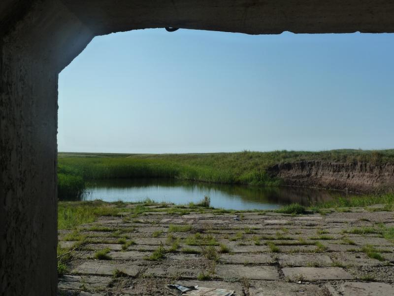 20110811. Павлодар-Астана. Под мостом через реку Акжар (пересохшую).