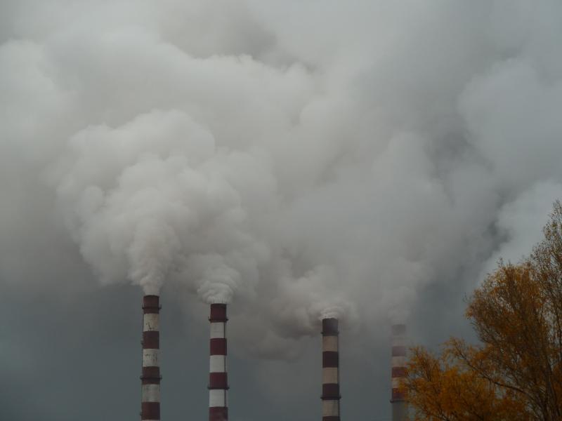 20111009. Павлодар. Парк под алюминиевым заводом. Вид на дымящие трубы завода.