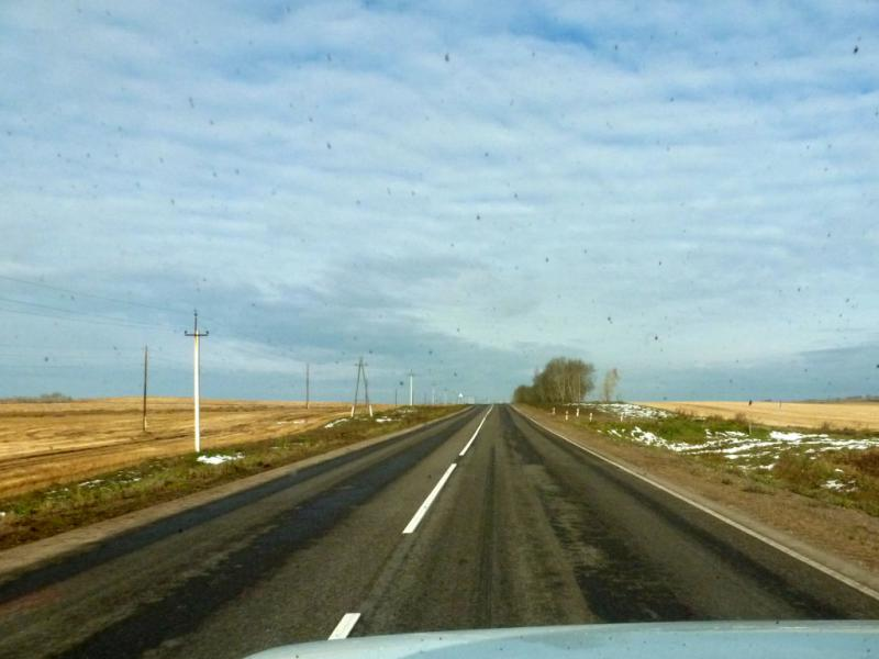 20170930. Дорога P-412 через Ужур, Шарыпово и Тисуль в Мариинск.