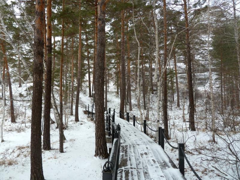 20111119. Боровое. Прогулка в снегопад. Тротуар вокруг озера Боровое.