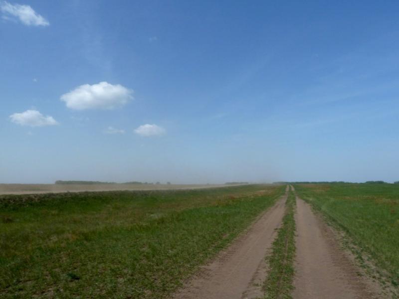 20120524. На запад, к Иртышу: грунтовая просёлочная дорога рядом с грунтовым грейдером Степное-Прииртышское.