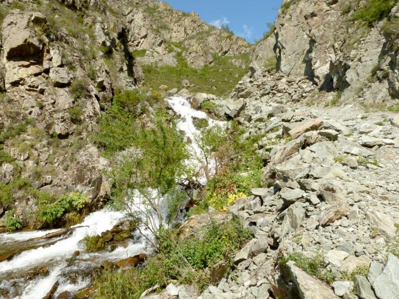 20180806. Речушка Бельтертуюк, впадающая ниже в реку Катунь.