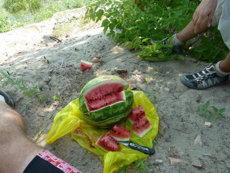20120715. Аксу-Павлодар: вид на арбуз. поглощённый нам у развалин речного порта Аксу.