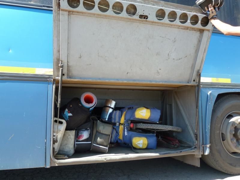20120809. Мой велосипед с рюкзаком и вещи Ильи в багажном отделении междугороднего автобуса.