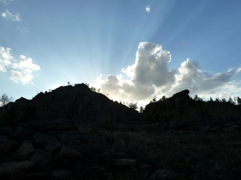 20130424. Вечерний вид со стоянки в полукилометре от озера Джасыбай.