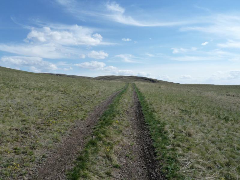 20130426. На дороге в горах Желтау, неподалеку от фермы-зимовки Копай.