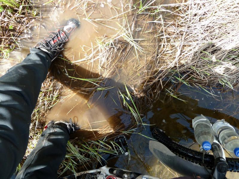20130501. В попытке перехода по затопленным берегам речки Кендара в Каркаралинском заповеднике.