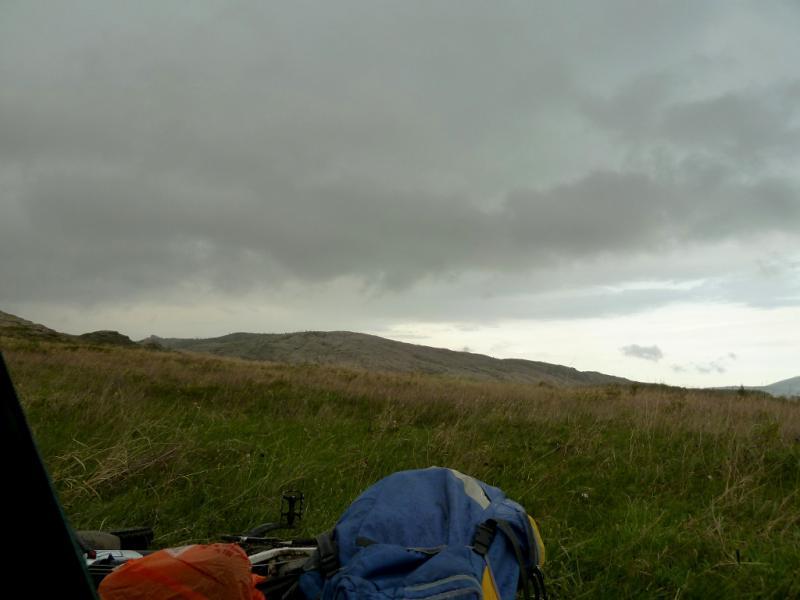 """20130503. Вид из """"окна"""" палатки на стоянке у гор Жаман-Кызылрай."""