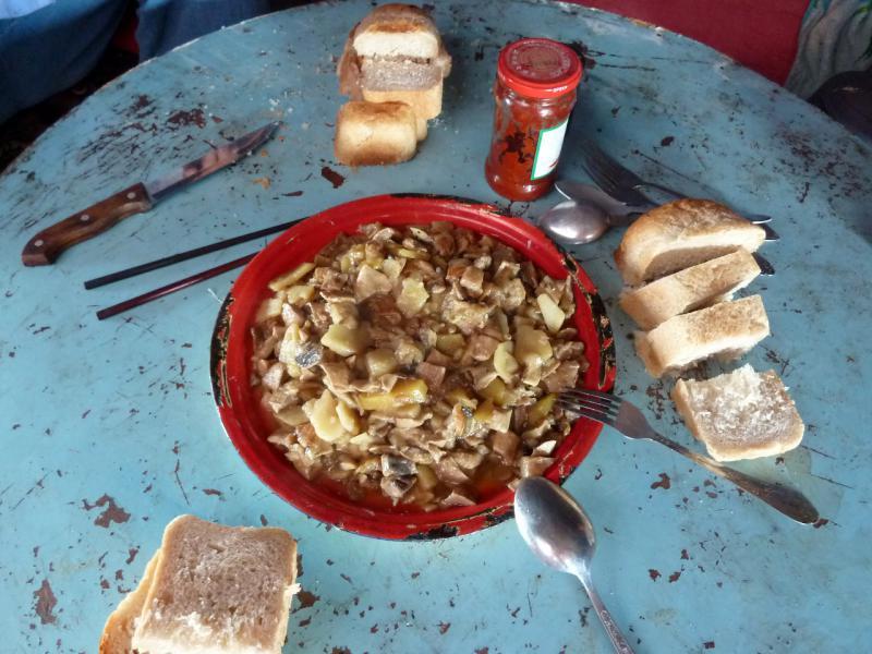 20130512. Завтрак грибами с картошкой на бахче.