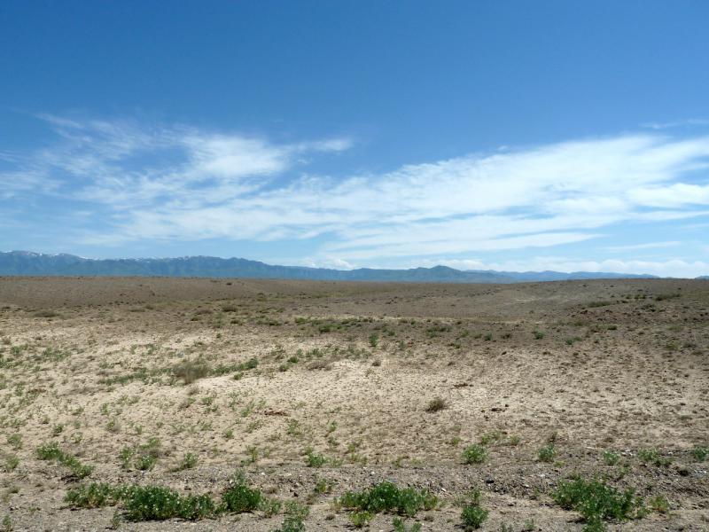 20130523. Вид на пустынную местность между рекой Чарын и хребтом Кетмень.