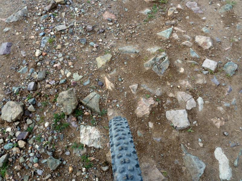 20130525. Типичное покрытие горных дорог на склонах долин, крупные камни, торчащие из земли.