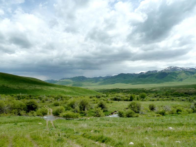 20130527. Вид со стороны горы Аратобе на долину реки Кескентерек.