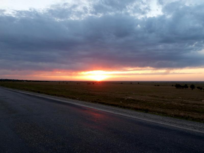 20130529. Закат на дороге, в сотне километров от Талдыкоргана.