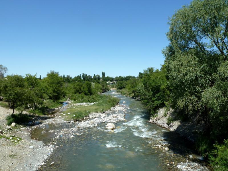 20130530. Речка Сарканд, вид с моста в одноимённом населённом пункте.