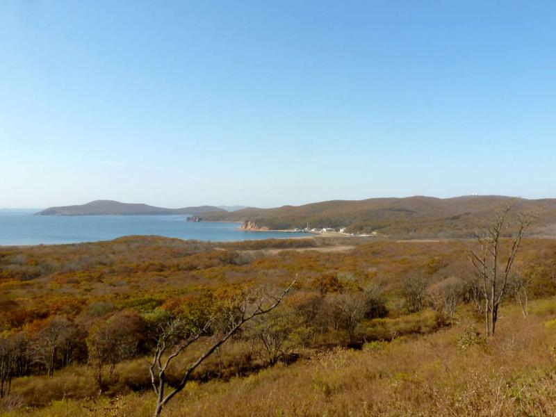 20191017. Владивосток. Вид с укреплений форта #11 на бухту Островную, с небольшой военной базой на берегу.