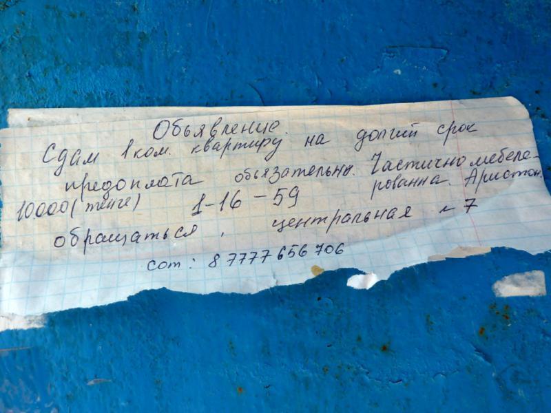 20130611. Объявление о сдаче в аренду жилья в Шульбинске.