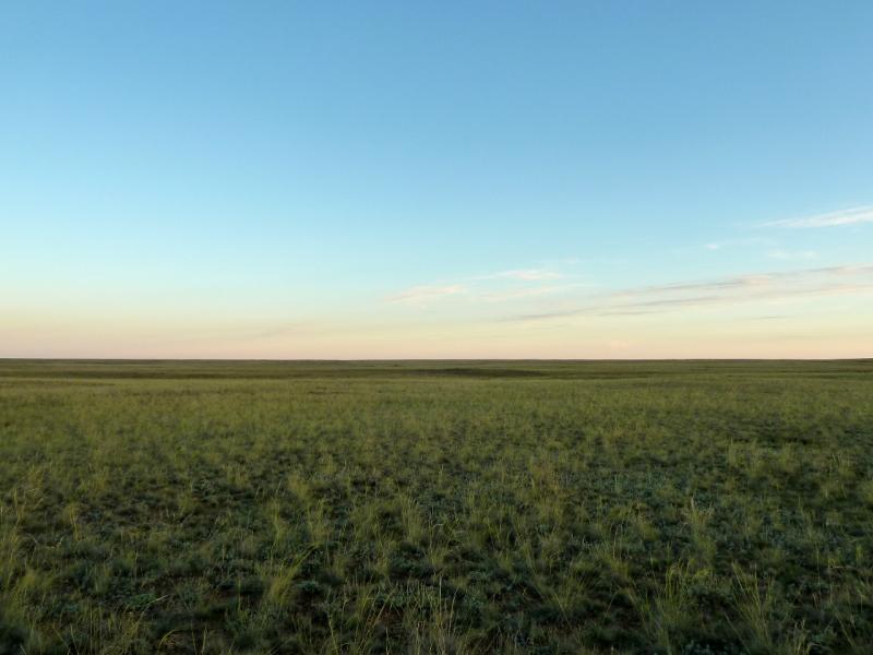 20130907. Вид на степь в начале Баянаульских предгорий, неподалеку от Майкаина.