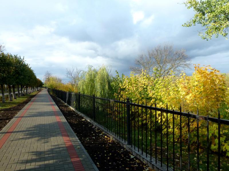 20141001. Тамбов. Аллея вдоль набережной канала реки Цна, в районе улицы Фридриха-Энгельса.