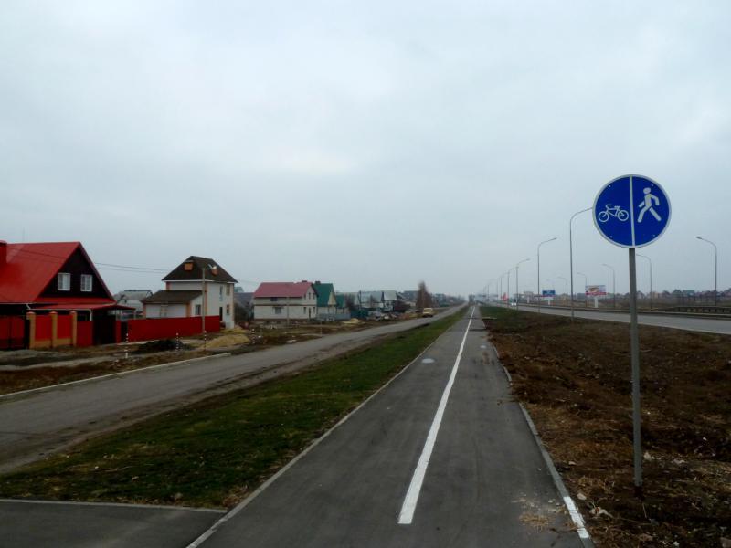 20141105. Тамбов. Велодорожка вдоль улицы Мичуринской, в районе активной жилищной застройки.