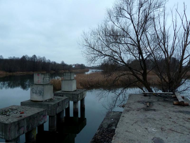 20141111. Тамбов. Опоры старого (уже) или второго нового (ещё не) железнодорожного моста на реке Цна.