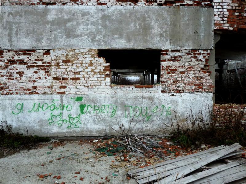 20141112. Тамбов. В развалинах скотоводческой базы кто-то любит и сражается за Свету Поцель.