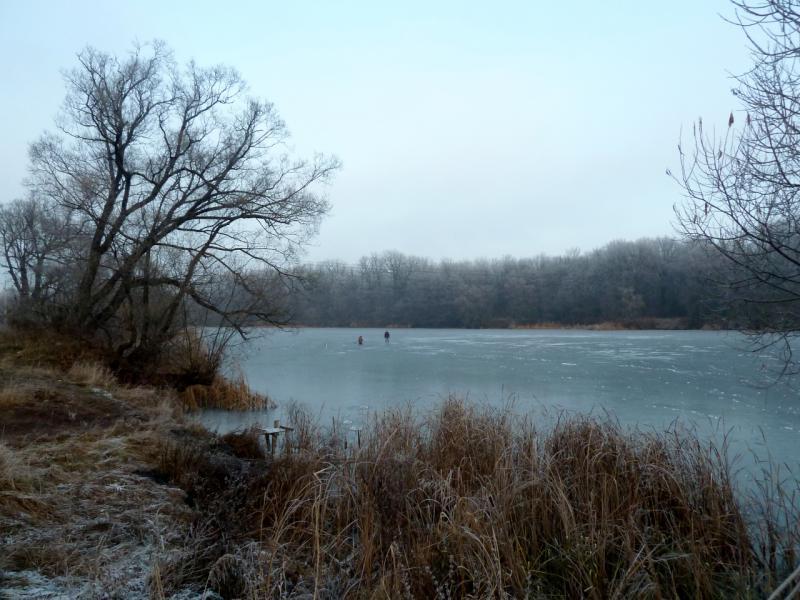 20141122. Тамбов в ноябре. Скованная льдом река Цна в районе острова Эльдорадо. На льду уже расселись рыбаки.