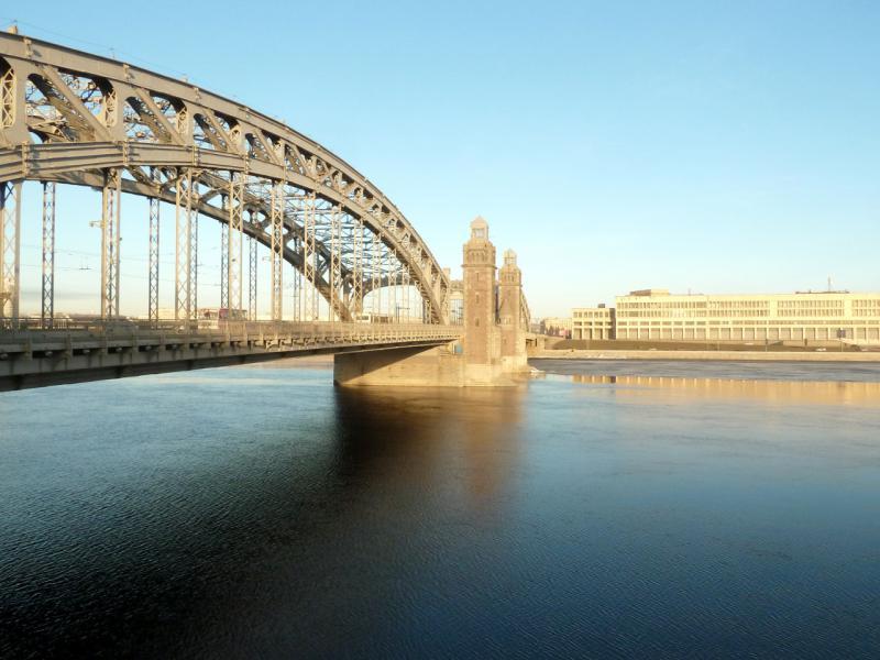 20150314. Большеохтинский мост через реку Нева.