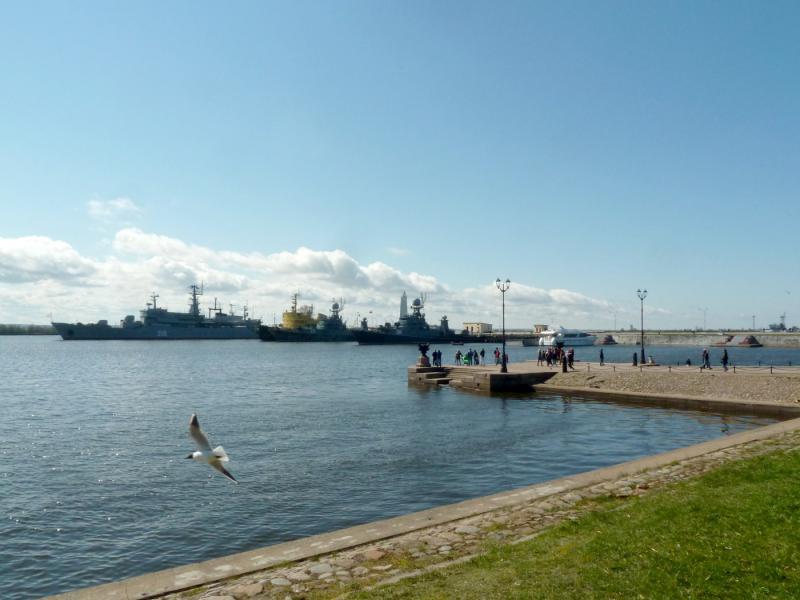 20150503. Кронштадтское. Вид на корабли в акватории Петровской гавани.