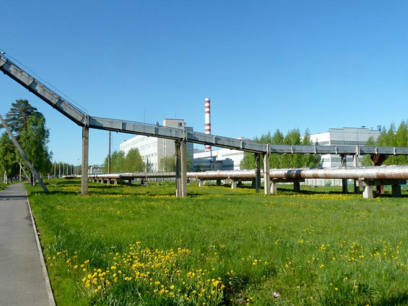 20150524. Вид на Ленинградскую АЭС с тротуара у Копорского шоссе.