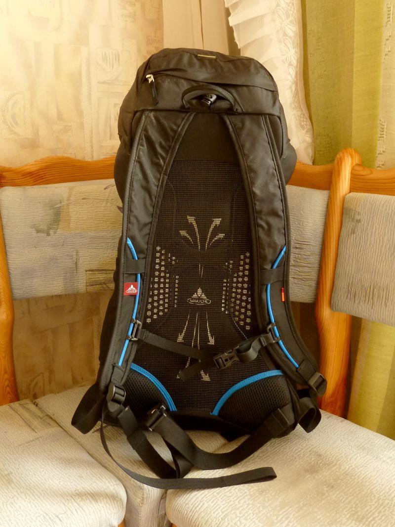 """Вид штурмового рюкзака """"Vaude Ultra Hiker 30"""" со стороны опоры на спину."""