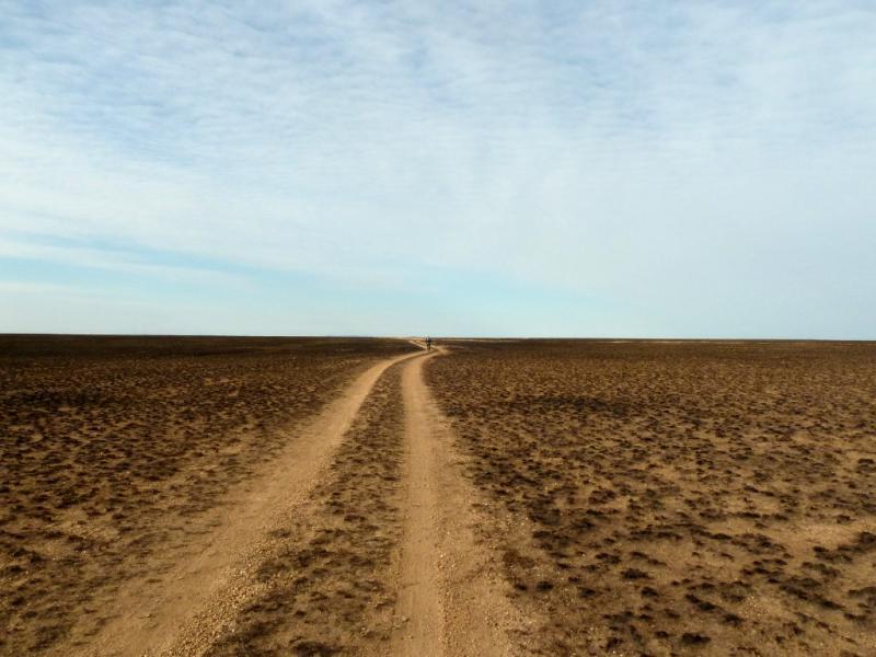 20150917. Дорога через выжженные степи севернее солёных озёр Алтыбайсор и Батырша.