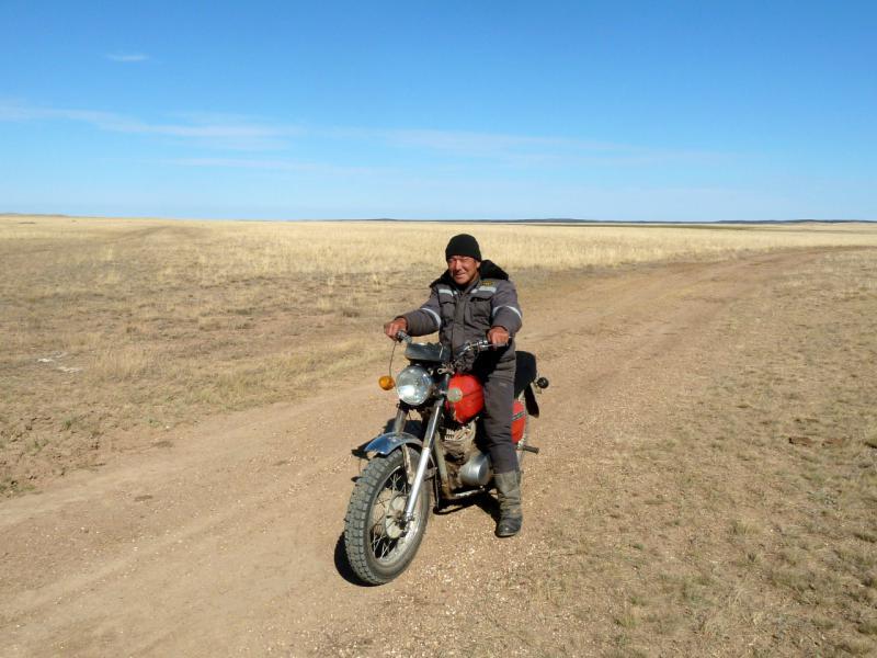 20150917. Современный житель степей - на мотоцикле передвигаться выгоднее, чем на лошади.